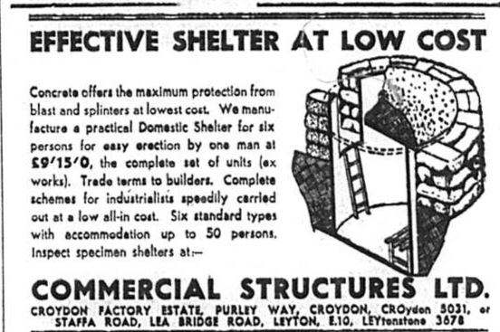 War Shelter - Advert from July 1940