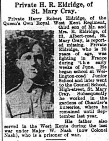 Private Henry R. Eldridge, 19th July 1940
