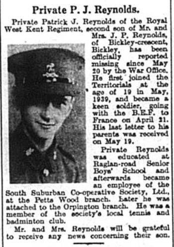 Private P J Reynolds reported as missing in the Bromley & District Times on 19th July 1940