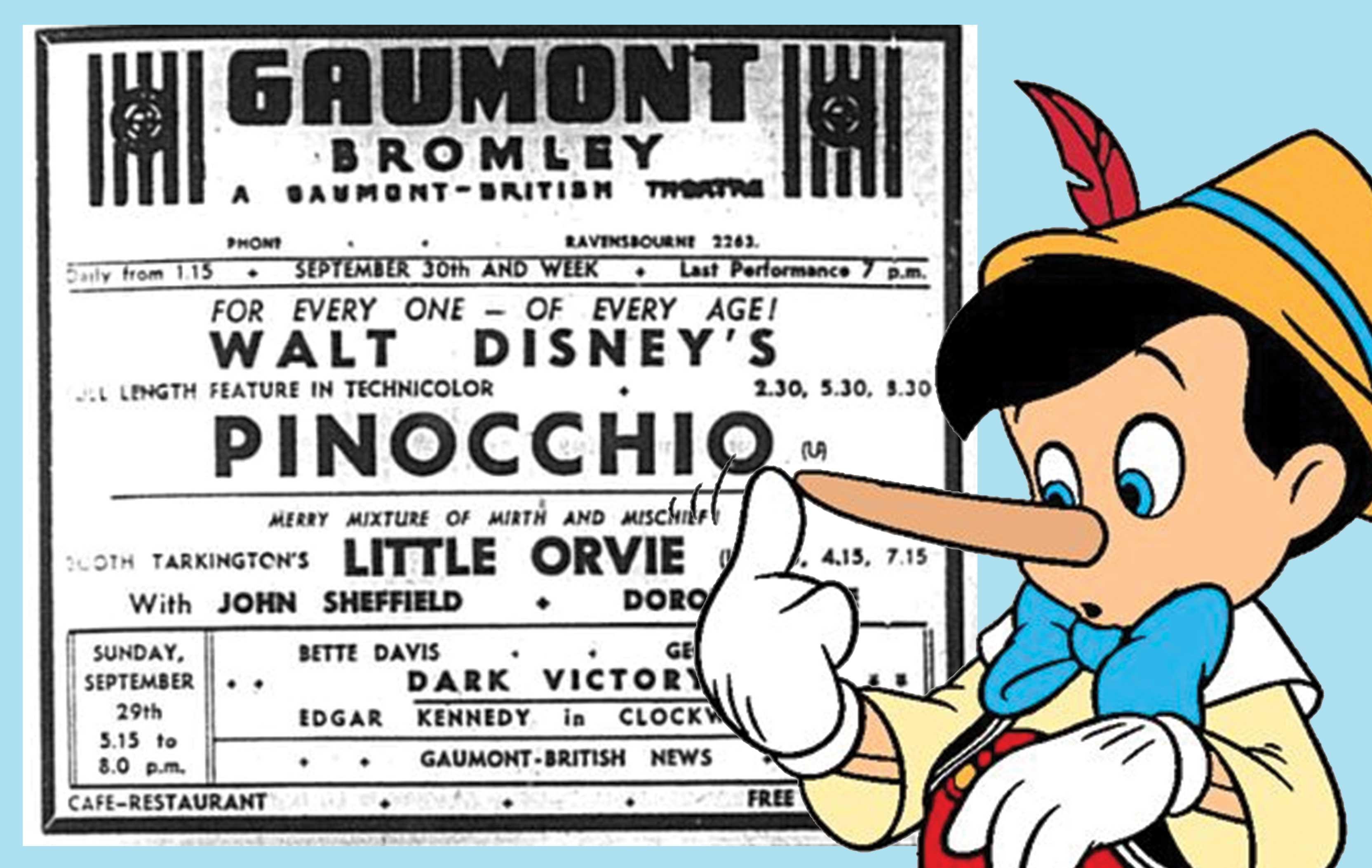 Pinocchio film listing, Bromley