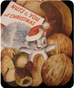 Christmas card design from the 1940s of a squirrel surrounded by nuts