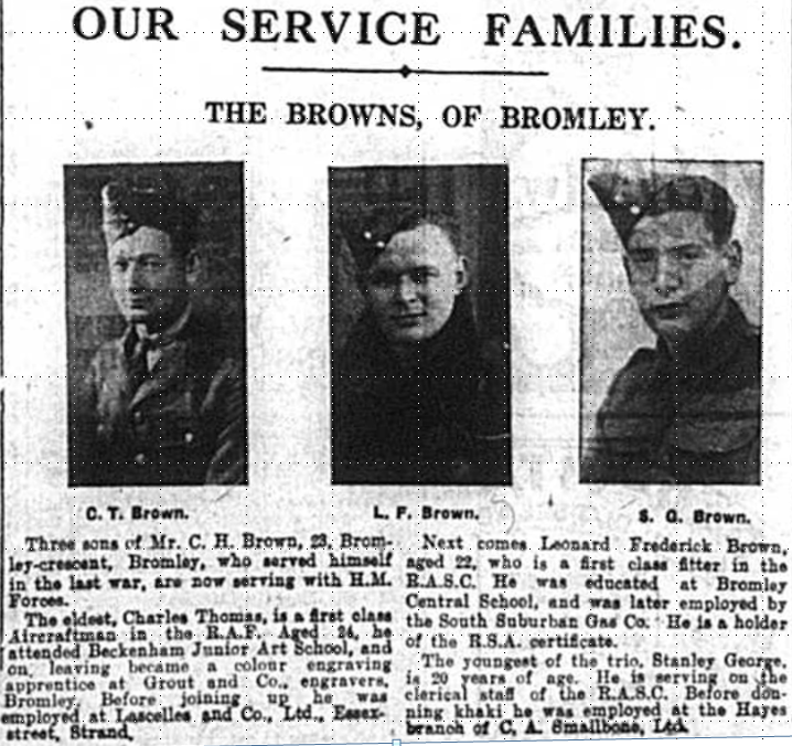 Images and article about the Browns, a military family from Bromely, Kent