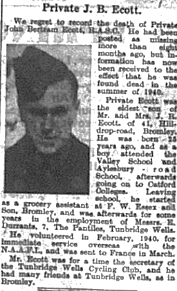 Death of soldier Private John Bertram Ecott, Bromley