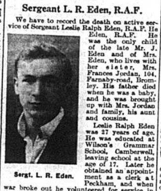 Death of Sergeant Leslie Ralph Eden of Bromley, Kent