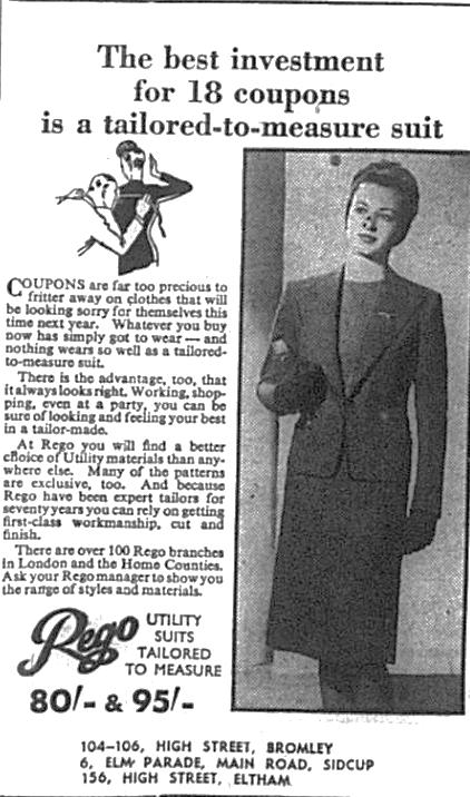 Ladies fashion advert for Rego clothing shops