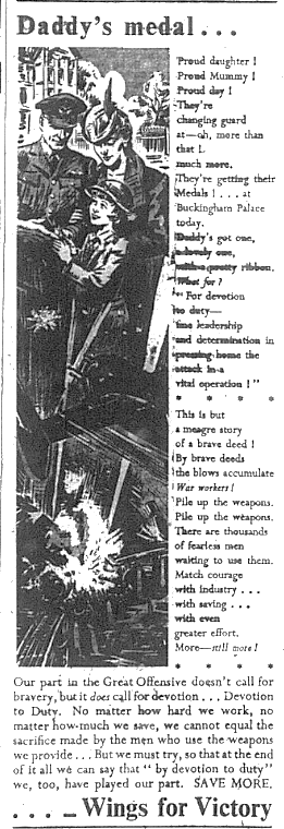Poem about Daddy's medal world war two
