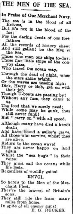 Merchant Navy poem by EG Rucker, World War two