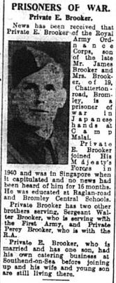 World War two Prisoner of War Private E Brooker
