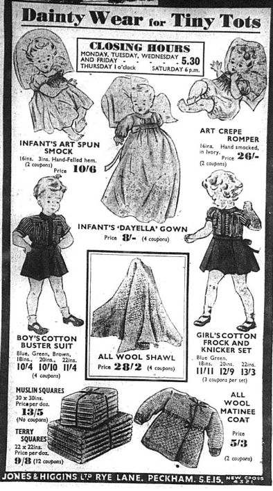 Newspaper advert for children's clothing from 1940s