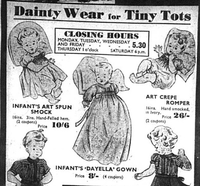 Local newspaper advert for children's clothing