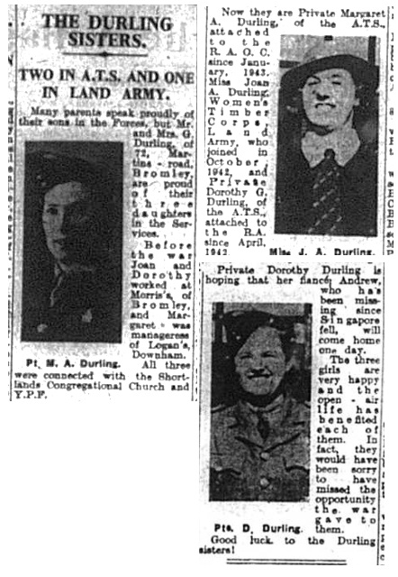 Durling sisters of Bromley who served duign world war two