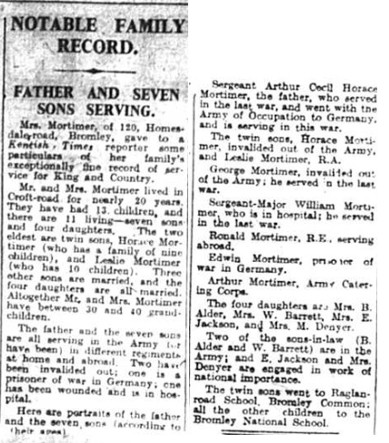 Article about the Mortimer family of Bromley