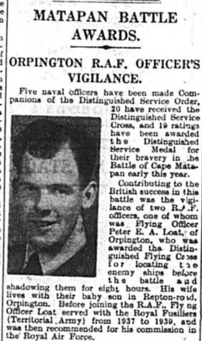 Flying Officer Peter Loat of Orpington receives Distinguished Flying Cross for his part in the Matapan Battle, 1941