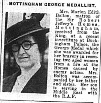 Mrs Marion Edith Bolton, matron of the Sir Robert Jeffery's Homes, Mottingham receives George Medal