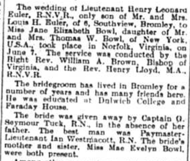Article about the wedding of Henry Leonard Euler and Miss Jane Bowl in 1941