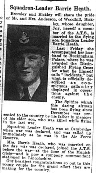 Portrait of Squadron leader Barrie Heath, 1941