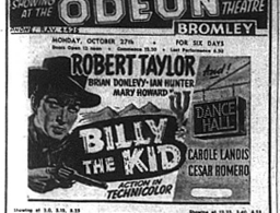Cinema listing of Billy the Kid film which appeared in Bromley's Odeon in October 1941