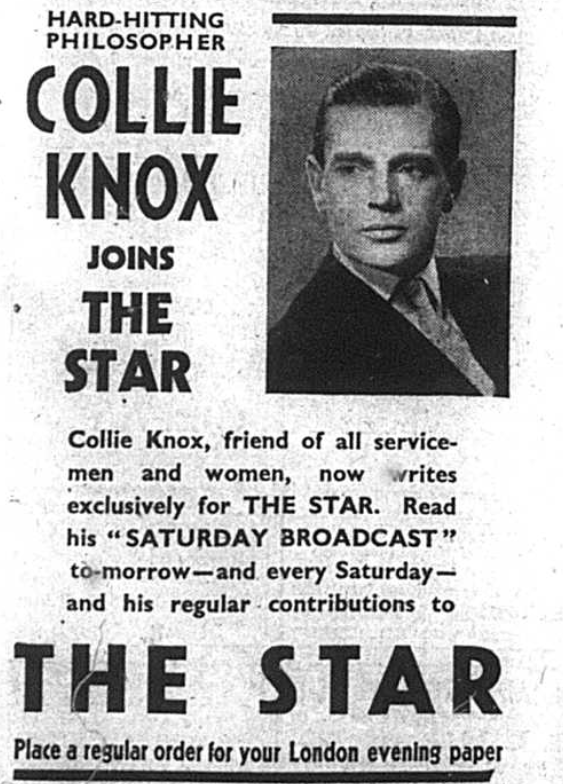 Feature about philosopher Collie Knox joining the star newspapers. Published int he Bromley & District Times in October 1941