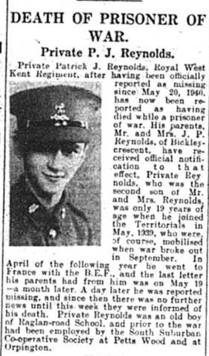 Death notice of Private Patrick J Reynolds published in the Bromley Times in October 1941 in a prisoner of war camp