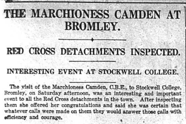 Article about the Marchioness Camden visiting Bromley to inspect the Red Cross detachments