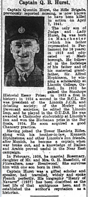 Article feautring Captain Quentin Hurst who was reported as Missing in October 1941