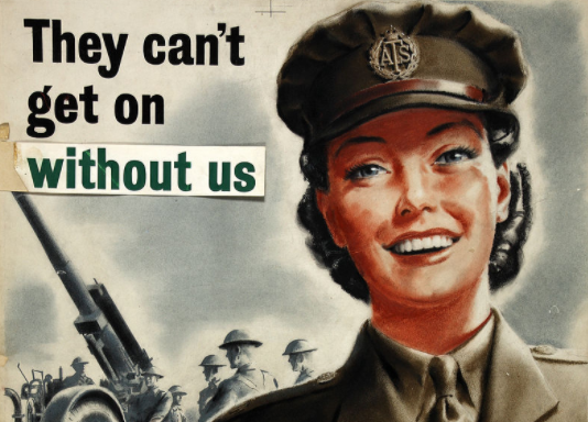 War poster showing female recruit for the ATS in World War two