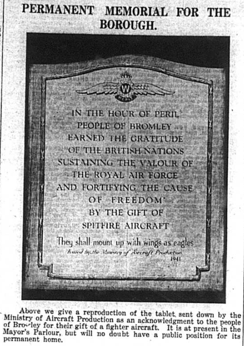 Article about a stone tablet acknowledging the people of Bromley during World War Two published in the Bromley & District Times newspaper