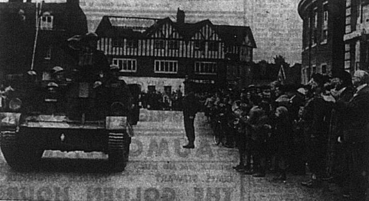 Tank driving through Bromleyto advertise the Salvage Waste drive, 1941