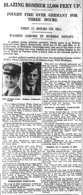 Article featuring the amazing ordeal of two local airmen