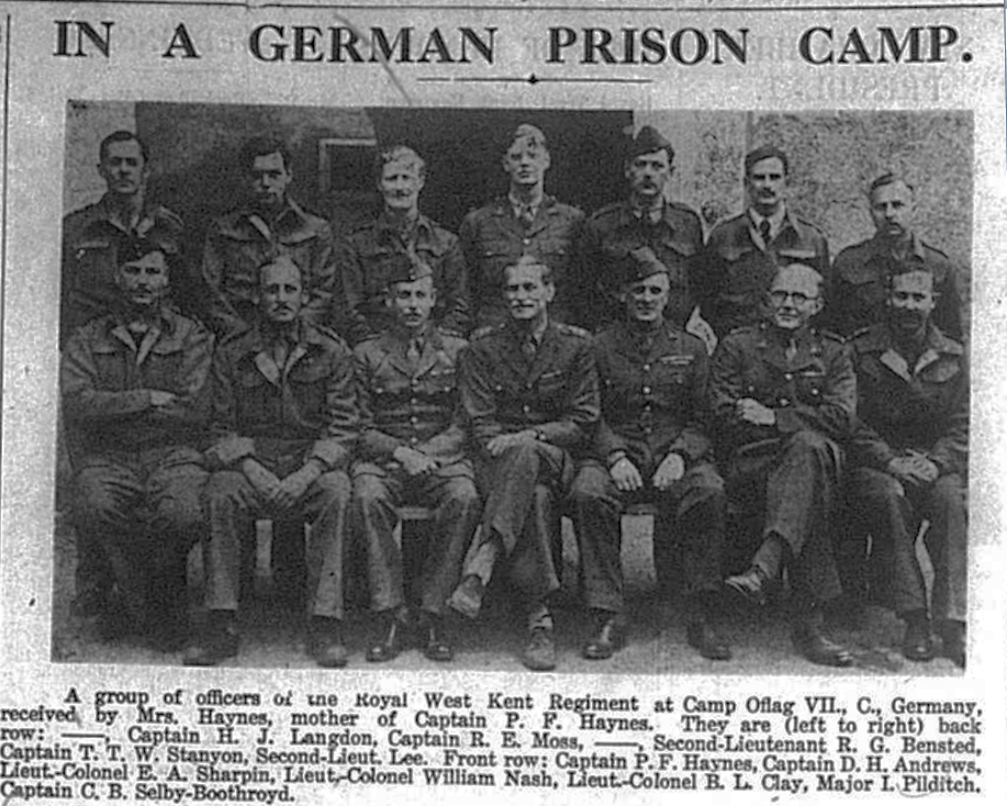 group photo of members from the Royal West Kent Regiment who were prisoners of war in Germany in 1941