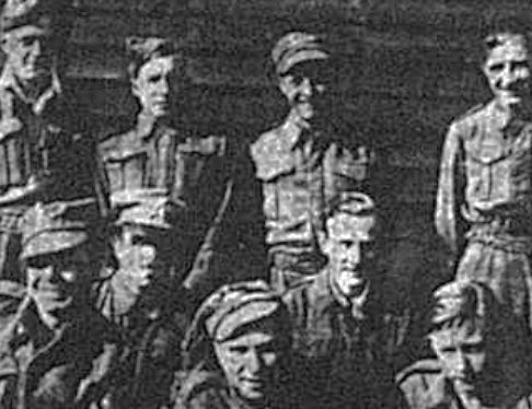 Group photo of members from the Royal West Kent Regiment who were prisoners of war in 1941 including Lance Corporal Eric Arthur Eagles