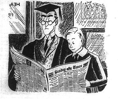 Cartoon of a teacher and pupil sharing the Sunday times. Advert from World War 2