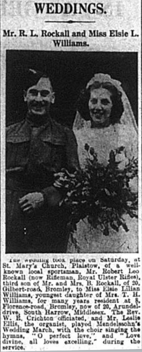 Article about the wedding of Robert Leo Rockall and Elsie Williams, published in the Bromley & District Times in October 1941