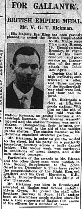 Article about the gallantry of Victor Rickman