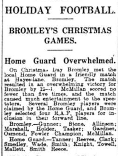 Christmas football game Bromley 1942