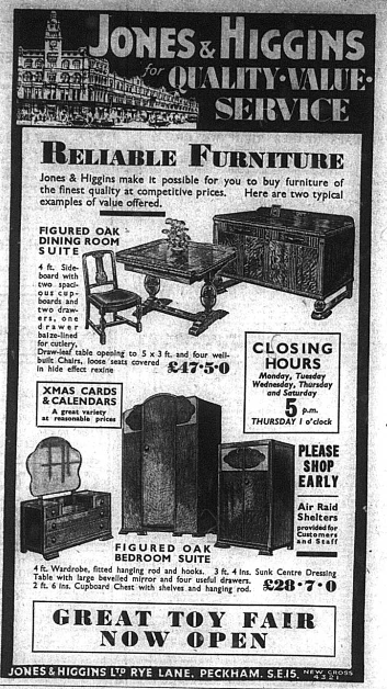 Jones and Higgins Advert for furniture, published int he Bromley & District Times on 21st November 1941