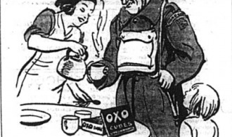 Soldier being poured a cup of OXO