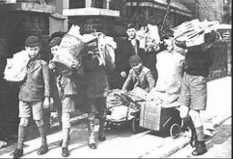 Boys collecting paper salvage during world war two