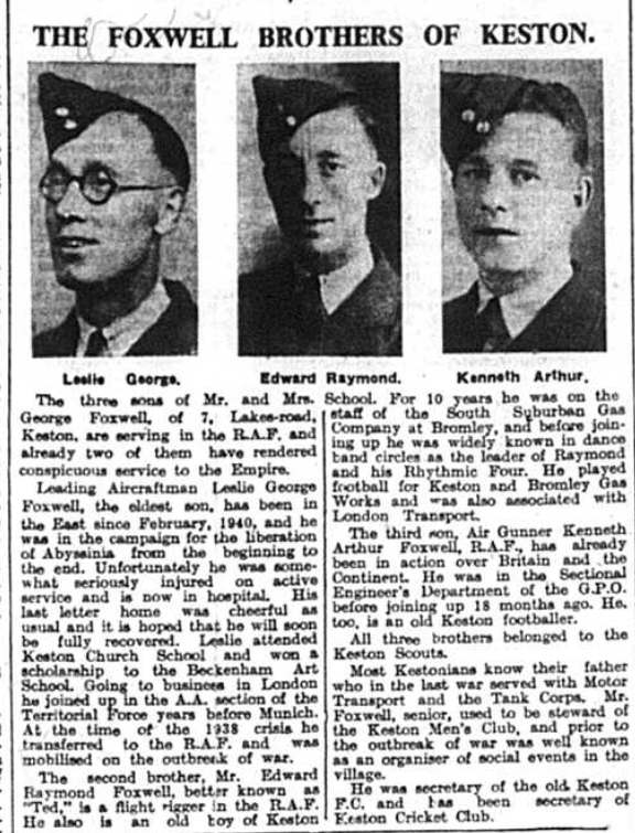 Newspaper article featuring the Foxwell Brothers of Keston, published in the Bromley Times on 2nd Jan 1942