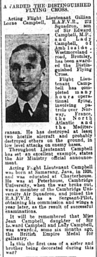 Newspaper article regarding Gillian Lorne Campbell who received teh distinguished flying cross in 1942