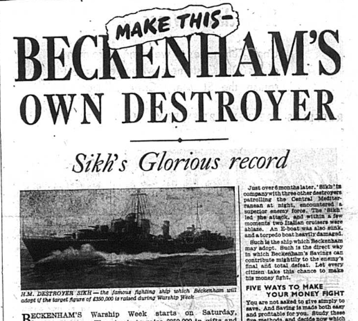 Newspaper article from 1942 featuring a photo fo the HM Destroyers Sikh which was to become Beckenham's own was ship
