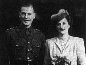 Wedding portrait of David Dobbie and Miss HEM Schooling dated February 1942
