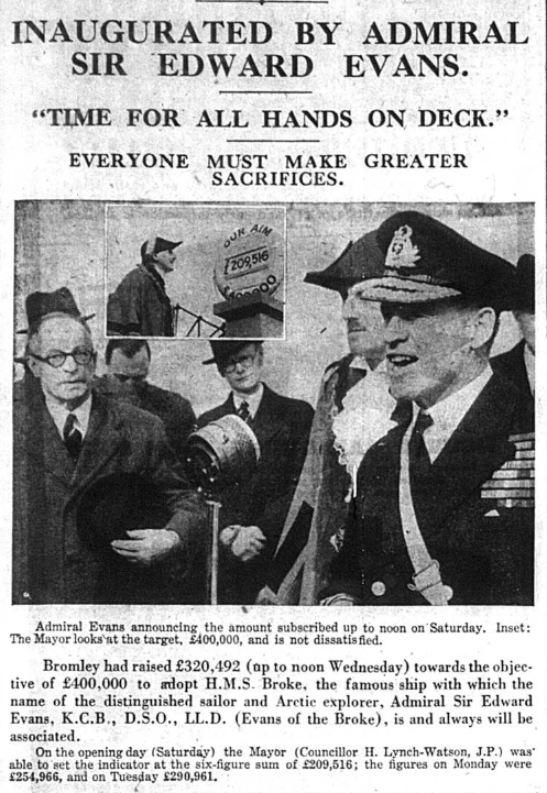 Article regarding Bromley's Warship Week during WW2published on 6th March 1942