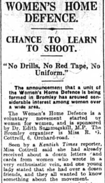Article from teh Bromley Times newspaper about Womens Home Defence - 6th March 1942