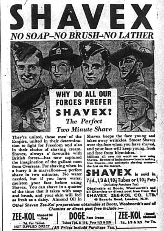 Advert for Shavex from 1942