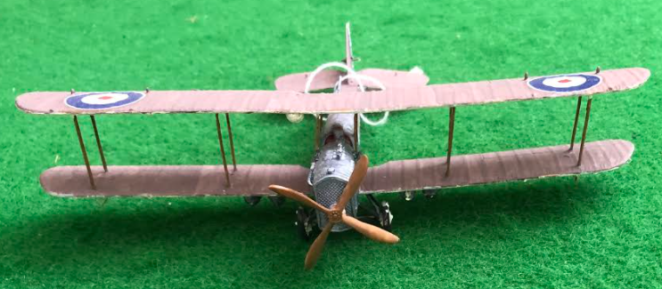 Scale model of the Airco DH.4 British aircraft used in during the first world war