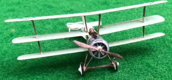 Scale model of the Sopwith Triplane - a British aircraft used in during the first world war