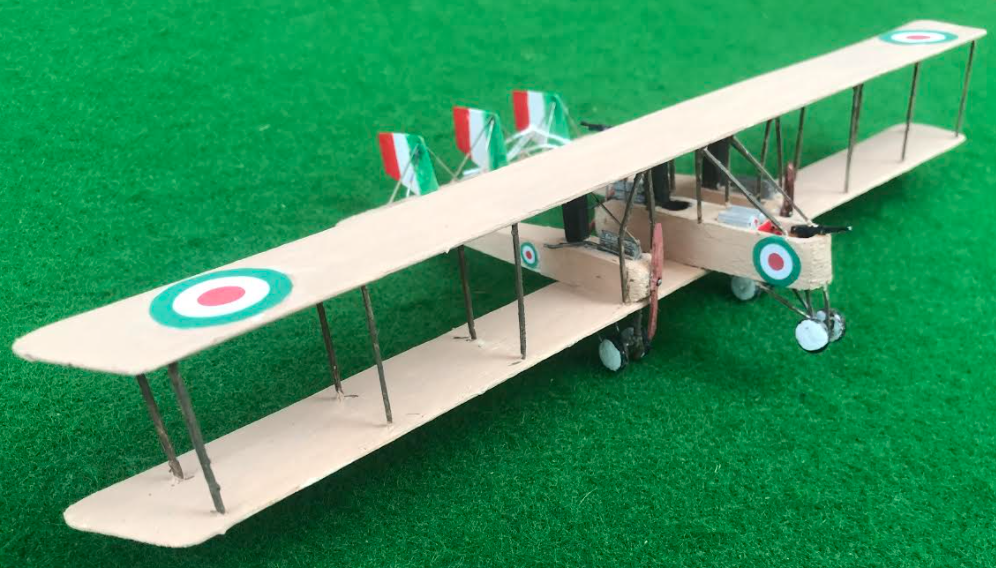 scale model of the Caproni Ca3 Italian aircraft used in during the first world war